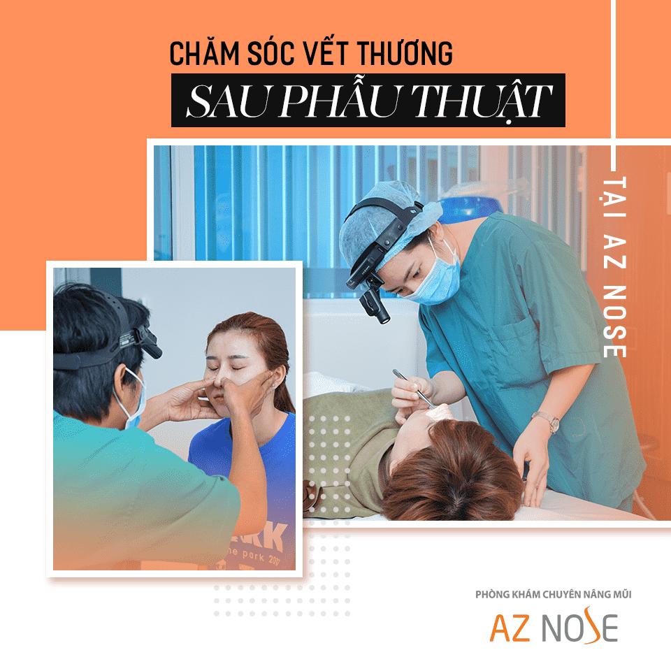 Chế độ chăm sóc hậu phẫu nghiêm ngặt tại AZ NOSE giúp hạn chế tối đa biến chứng sau nâng.